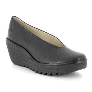 Fly London Black Yaz Wedge Leather Shoes Slip On